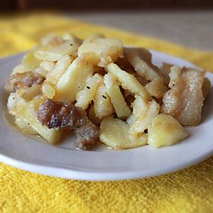 Жареная картошка со свининой рецепт на сковороде