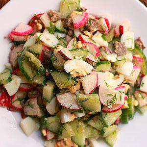 Легкий весенний салат со свиной печенью рецепт с фото