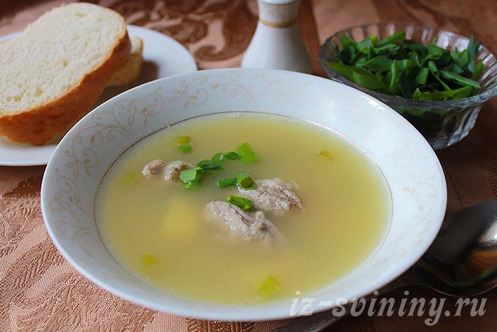 Итоговое фото горохового супа с мясом свинины