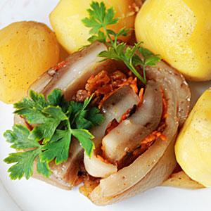 Сало запеченное в духовке - рецепт с картошкой