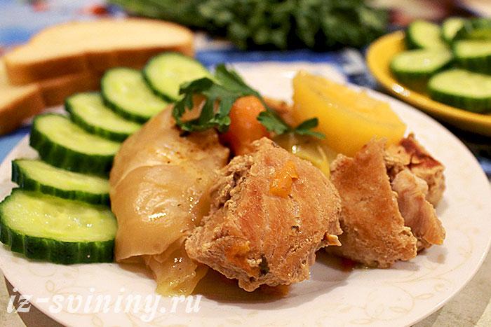 Итоговое фото свинины и овощей из дамлямы