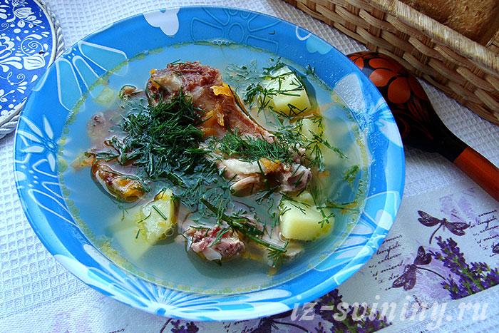 Фото рецепта супа из копченых свиных ребрышек