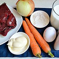 Ингредиенты для печеночного торта из свиной печени