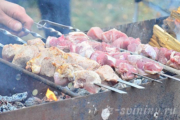 Шашлык из свинины подрумянивается