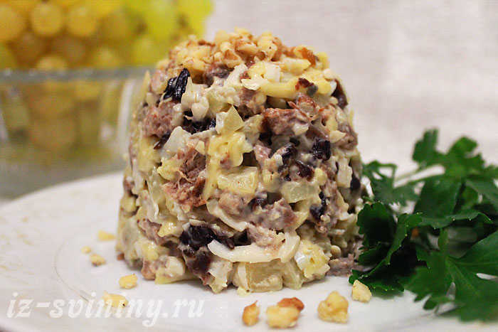 Готовый салат из свиного языка рецепт с фото