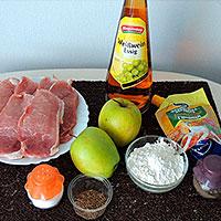 Ингредиенты для сочных свиных отбивных с яблоками